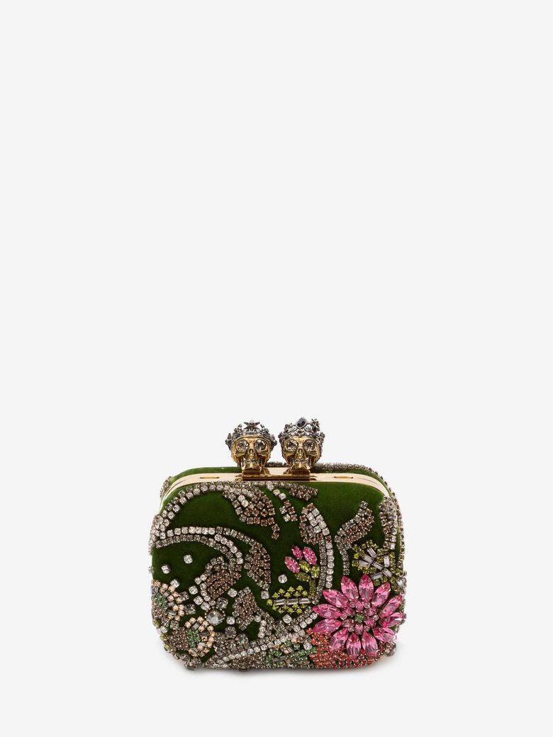 """EMBROIDERED """"QUEEN AND KING"""" SKELETON BOX CLUTCH"""
