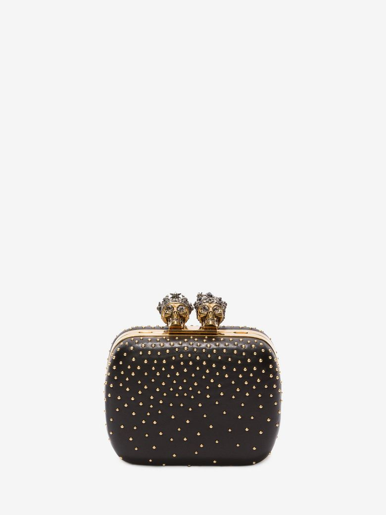 """STUDDED """"QUEEN AND KING"""" SKELETON BOX CLUTCH"""