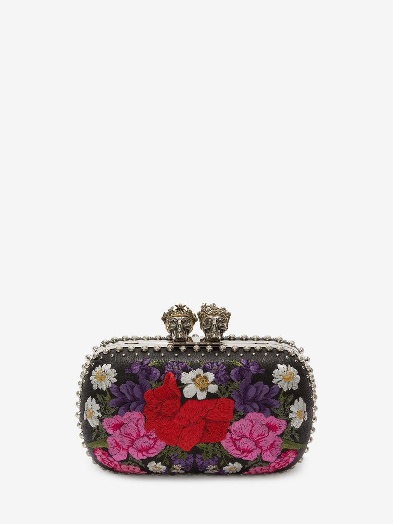 'Queen and King' Swarovski crystal skull floral embroidered box clutch
