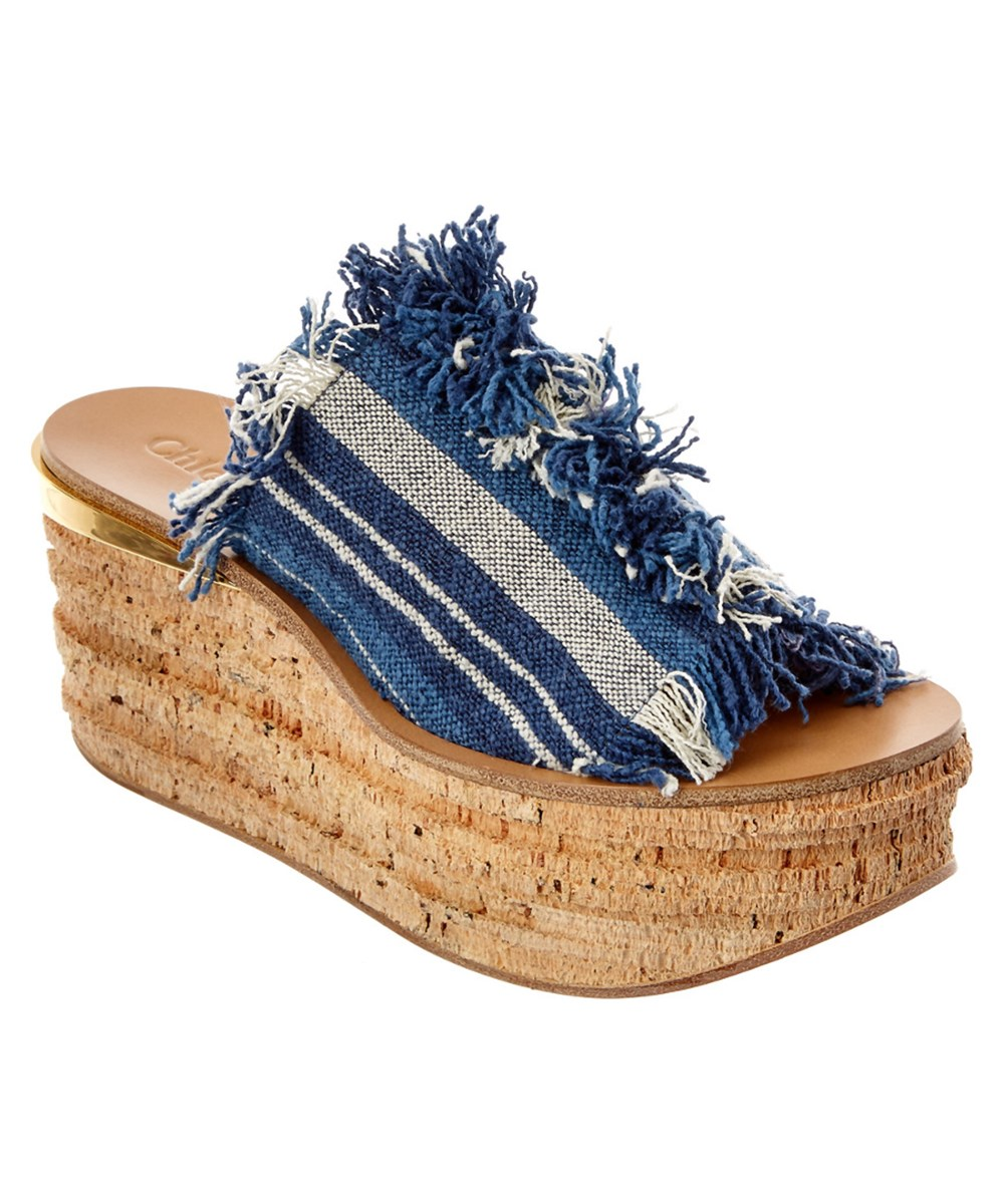 Chloé Canvases CHLOE CAMILLE STRIPED CANVAS WEDGE MULE'