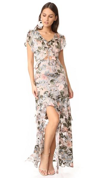 FOR LOVE & LEMONS Luciana Maxi Dress, Ivory Floral