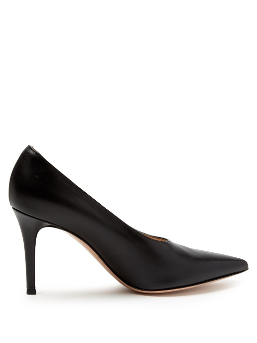Muriel 85 high-cut point-toe leather pumps