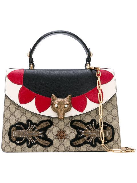 Gucci Medium Embellished Gg Supreme & Leather Top Handle Bag, Multi