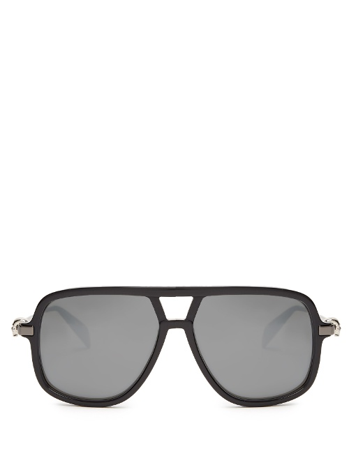 ALEXANDER MCQUEEN Flat-Top Mirrored Sunglasses