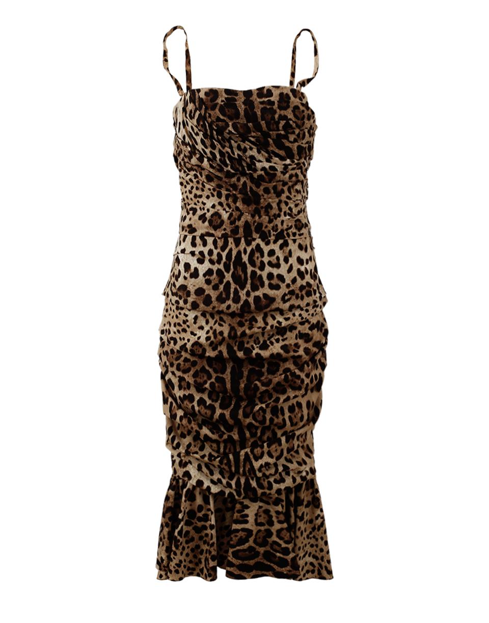 Dolce & Gabbana Silks Leopard Ruched Dress