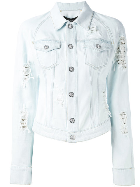 VERSUS Distressed Denim Jacket