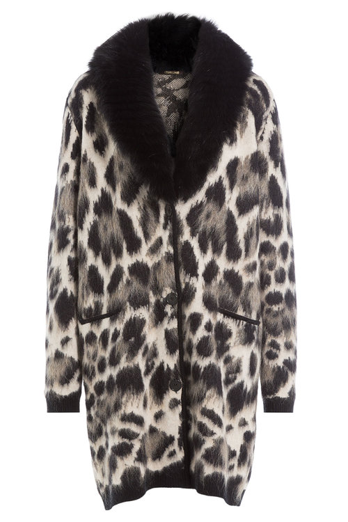 Roberto Cavalli Fleece Wool and Mohair Cardigan Coat