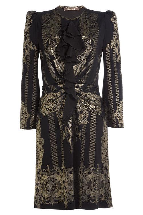 Roberto Cavalli Dresses Dress with Ruffles and Metallic Gold Print
