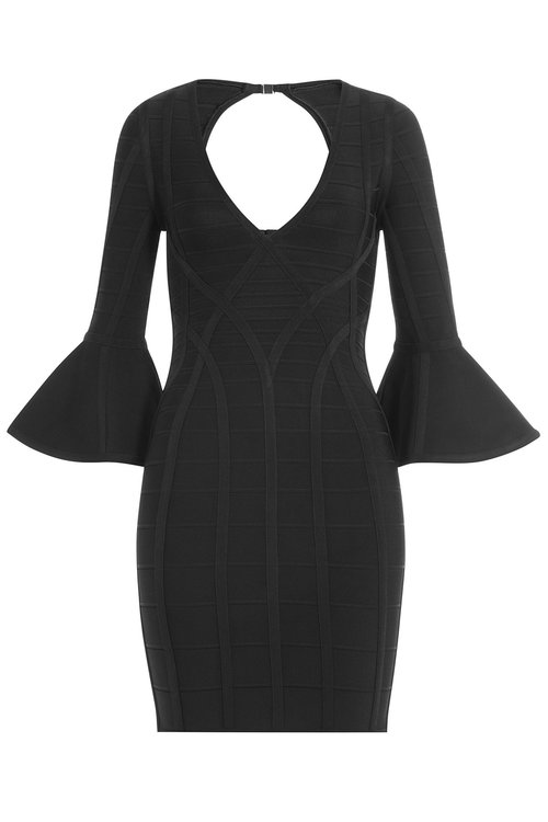 Herve Leger Dresses Bandage Dress with Flared Cuffs