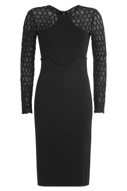 Roland Mouret Knits Knit Dress with Patterned Sleeves