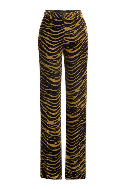 Roberto Cavalli Silks Velvet Wide Leg Animal Print Pants