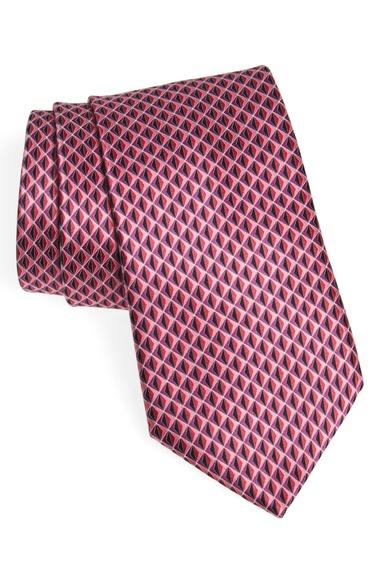 ERMENEGILDO ZEGNA Geometric Silk Tie in Pink