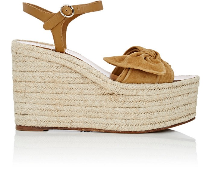 Valentino Suedes Tropical Suede & Leather Espadrille Wedge Sandals