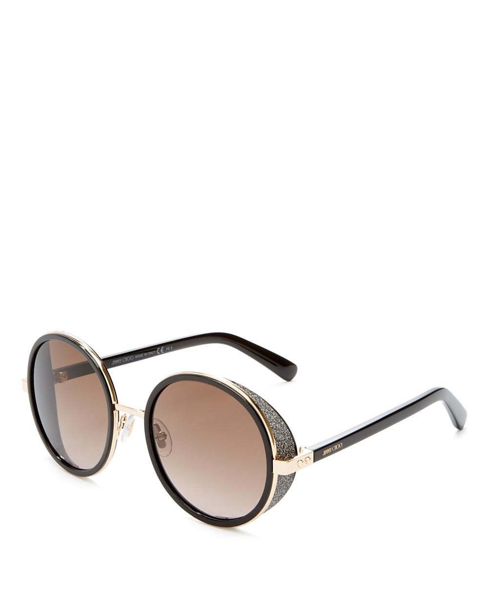 JIMMY CHOO Andie Havana Brown Acetate Round Framed Sunglasses With ...