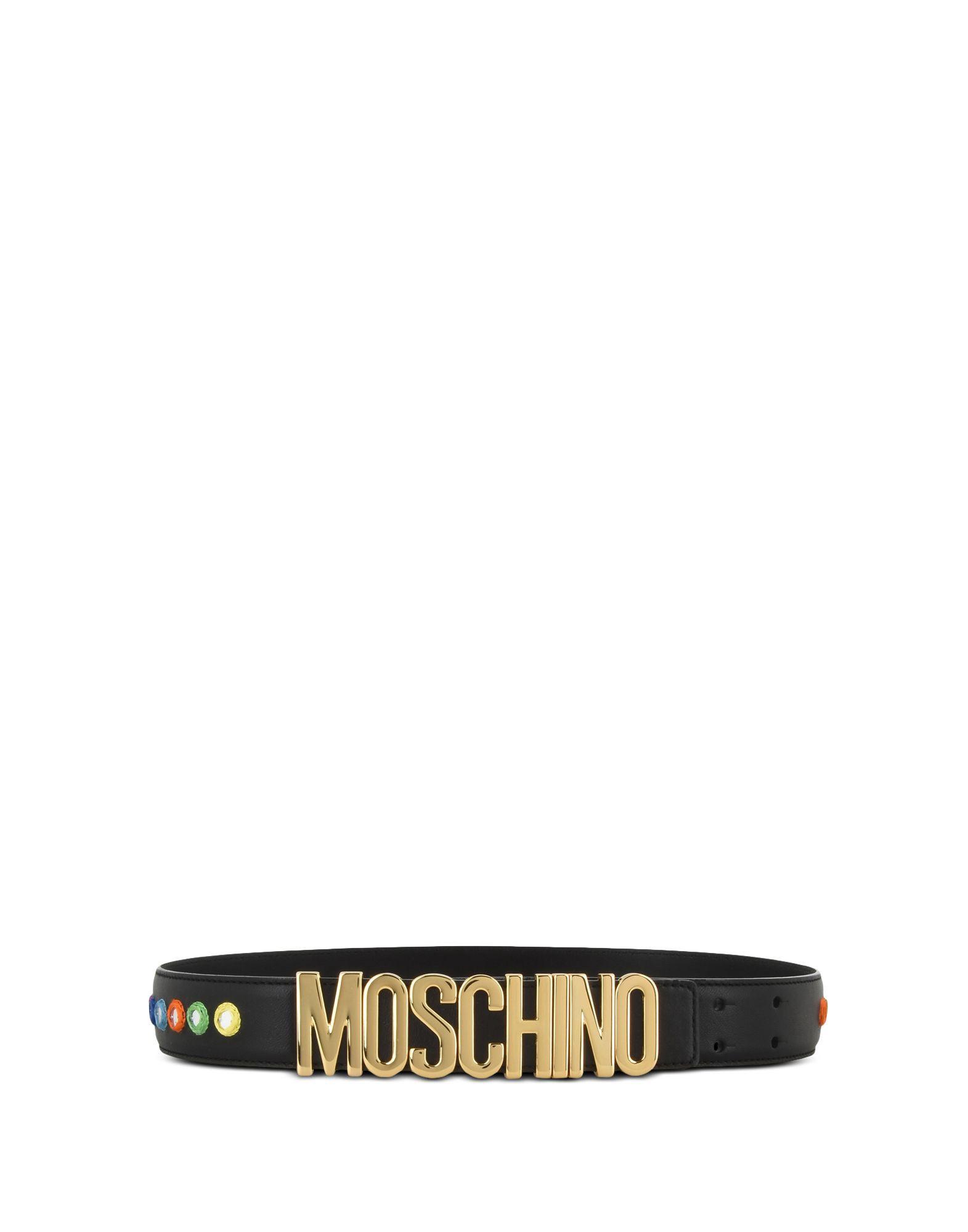MOSCHINO Embroidered Mirror Logo Belt in Black
