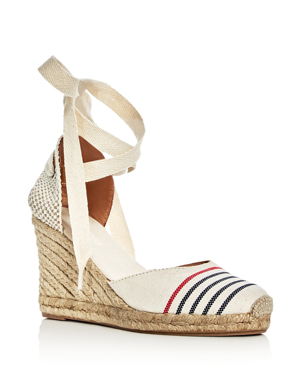 Soludos Canvases SOLUDOS WOMEN'S ANKLE TIE ESPADRILLE WEDGE SANDALS