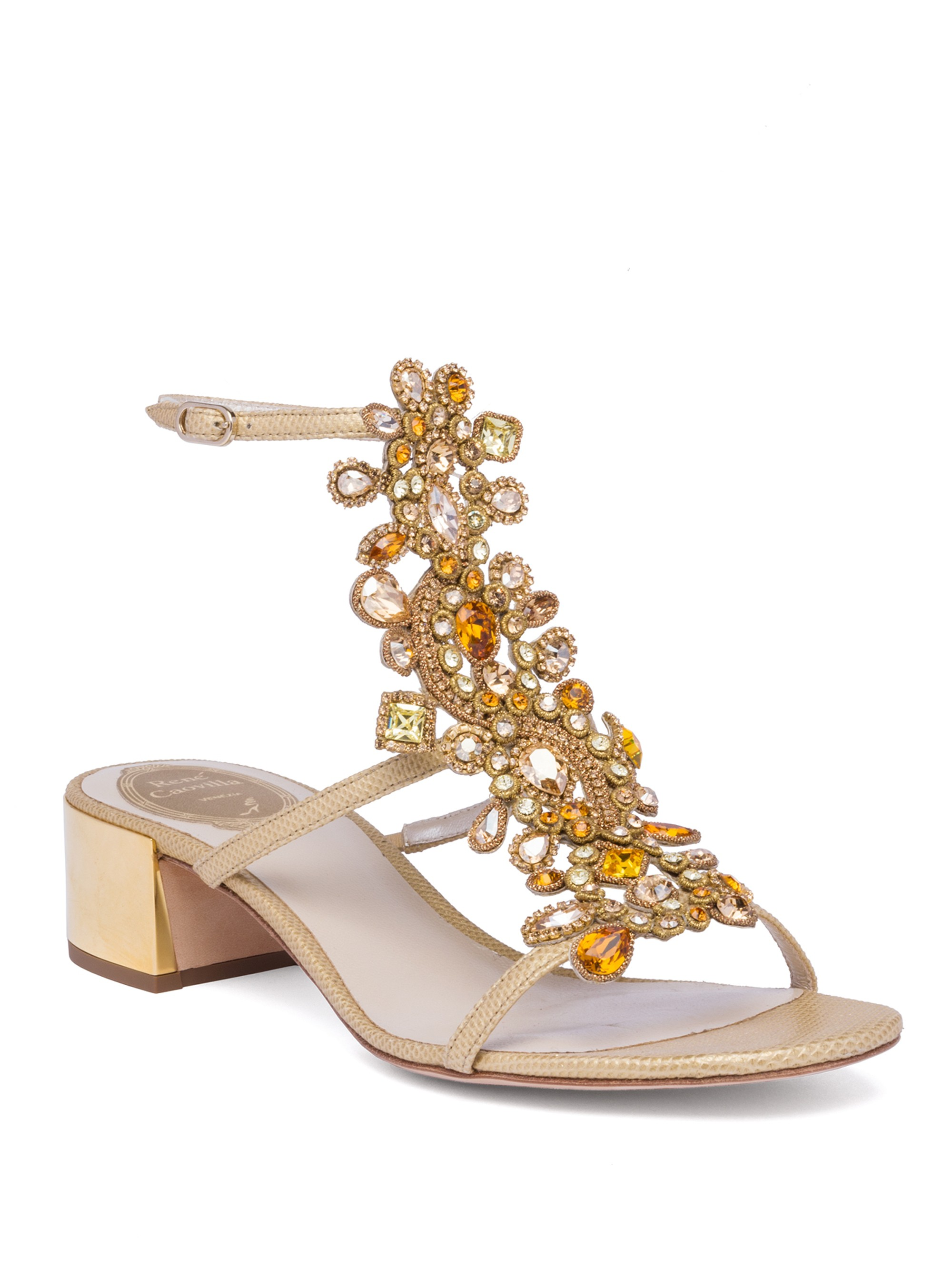 René Caovilla Crystals Crystal-Embellished Snakeskin T-Strap Block Heel Sandals