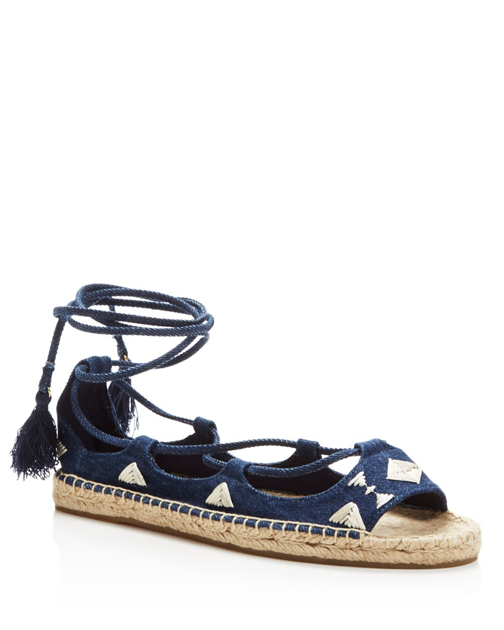 Soludos Peep toes SOLUDOS DENIM OPEN TOE EMBROIDERED LACE UP SANDALS - 100% EXCLUSIVE