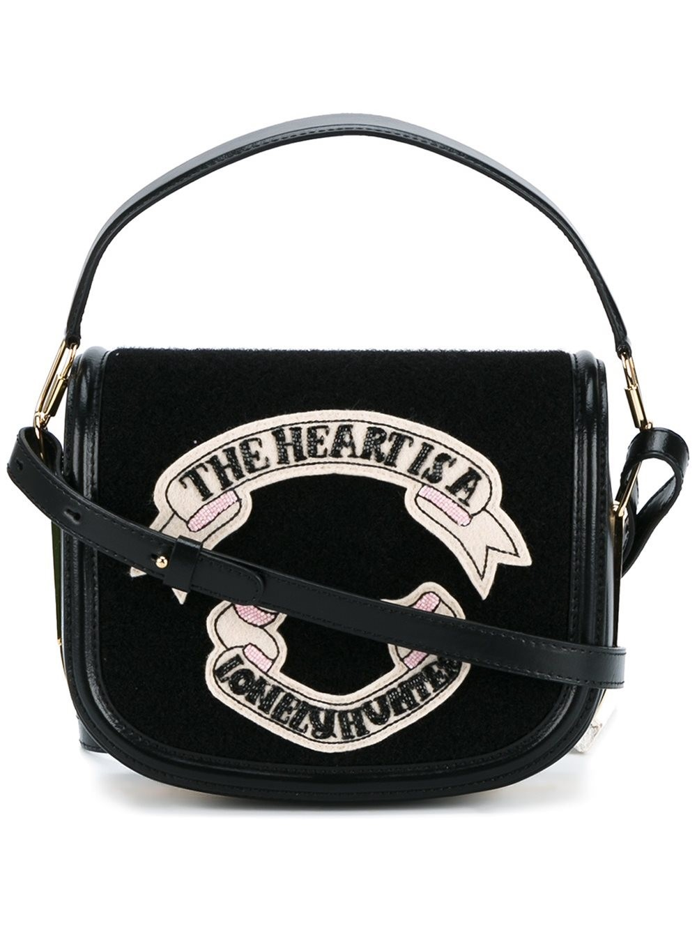 OLYMPIA LE-TAN Leather Shoulder Bag With Felt in Black