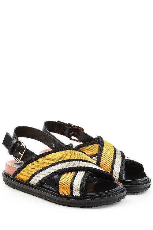 MARNI Fussbett Fabric Crossover Sandals in Sun