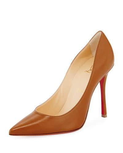 DECOLTISH POINT-TOE RED SOLE PUMPS, SAFARI
