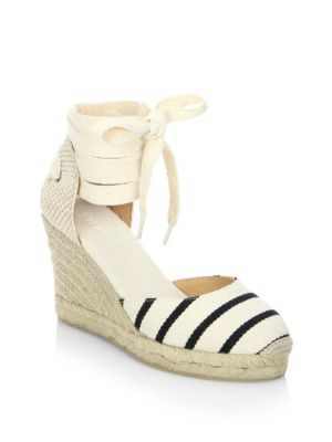 Soludos Canvases Striped Gladiator Tall Wedge Sandals