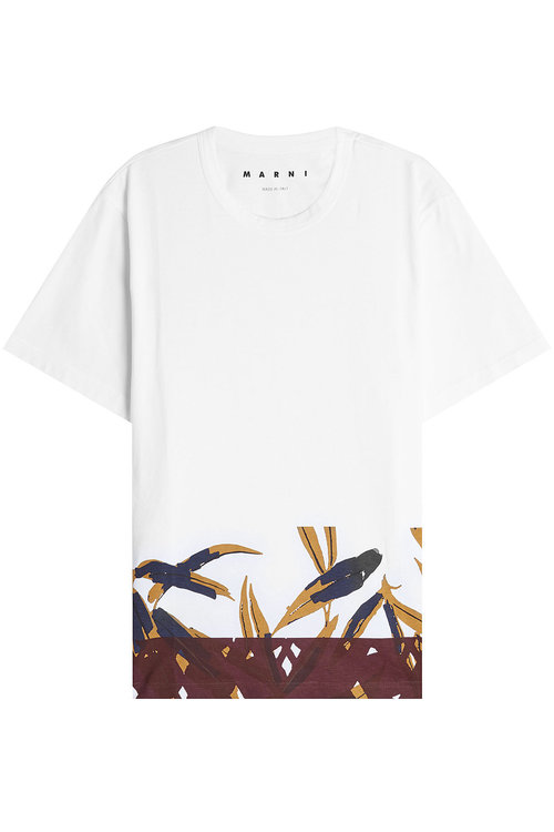 Marni bamboo print cotton jersey t shirt white modesens for Bamboo t shirt printing