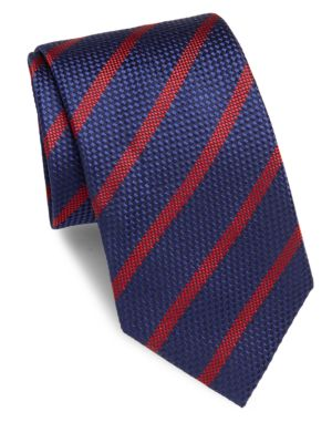 BRIONI Striped Embossed Silk Tie in Navy Red