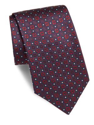 BRIONI Embossed Silk Tie in Navy Red