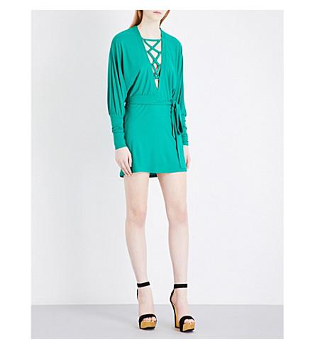Balmain Dresses Lace-up crepe mini dress