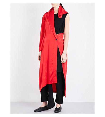 Yohji Yamamoto Wrapped-overlay satin coat