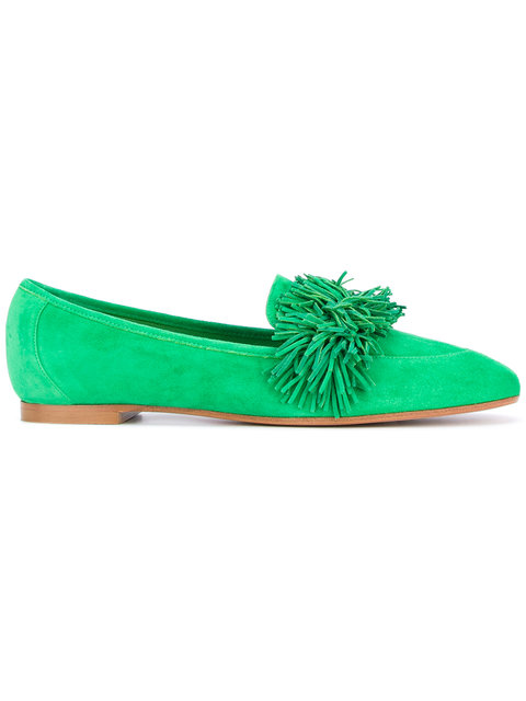 AQUAZZURA Wild Thing Suede Loafers in Colour: Bright-Green