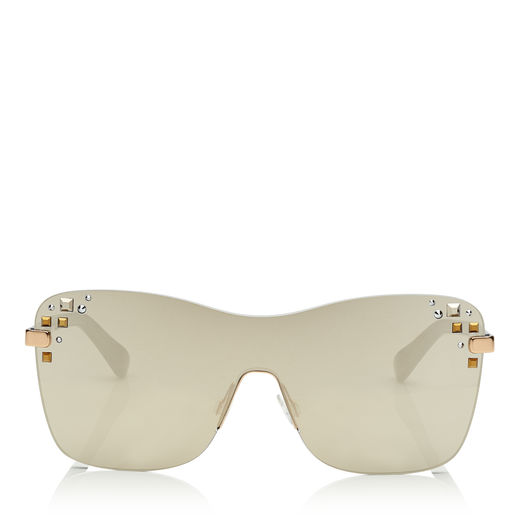 MASK Rose Gold and Grey Round Frame Sunglasses with Swarovski Crystals