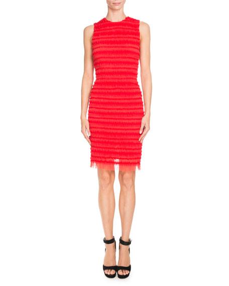 Givenchy Dresses SLEEVELESS STRIPE-RUFFLED SHEATH DRESS, RED