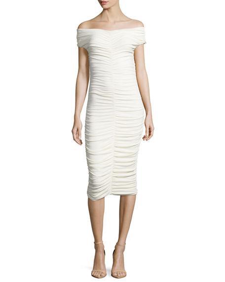 The Row Dresses HALI RUCHED OFF-SHOULDER DRESS