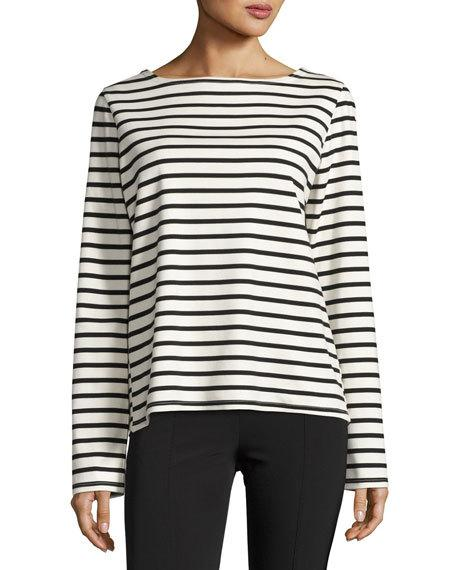 The Row Cottons MORIS STRIPED LONG-SLEEVE TOP, BLUE PATTERN