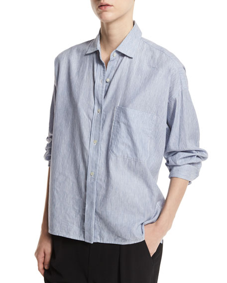 Vince Cottons STRIPED CROPPED OXFORD SHIRT, BLUE