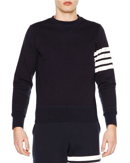 THOM BROWNE Crewneck Four-Stripe Sweatshirt, Navy