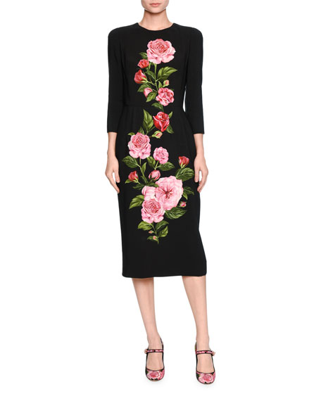 Dolce & Gabbana Silks ROSE-PRINT CADY MIDI DRESS, BLACK/PINK, ROSE PINK & BLACK