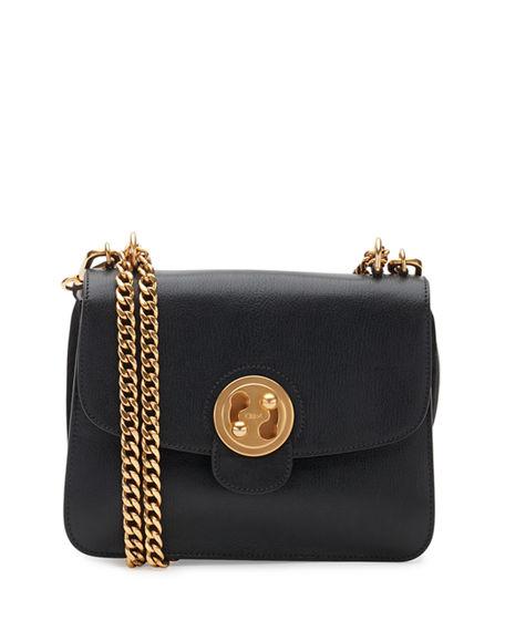 Chloé Leathers MILIE MEDIUM TURN-LOCK CHAIN SHOULDER BAG, BLACK