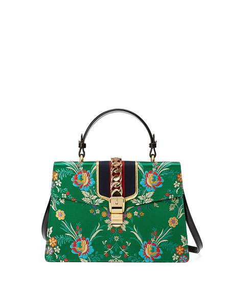 SYLVIE LARGE CHAIN-EMBELLISHED JACQUARD AND LEATHER TOTE