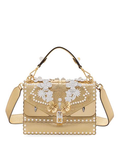 FENDI Kan I Floral Monster Top-Handle Shoulder Bag, Gold