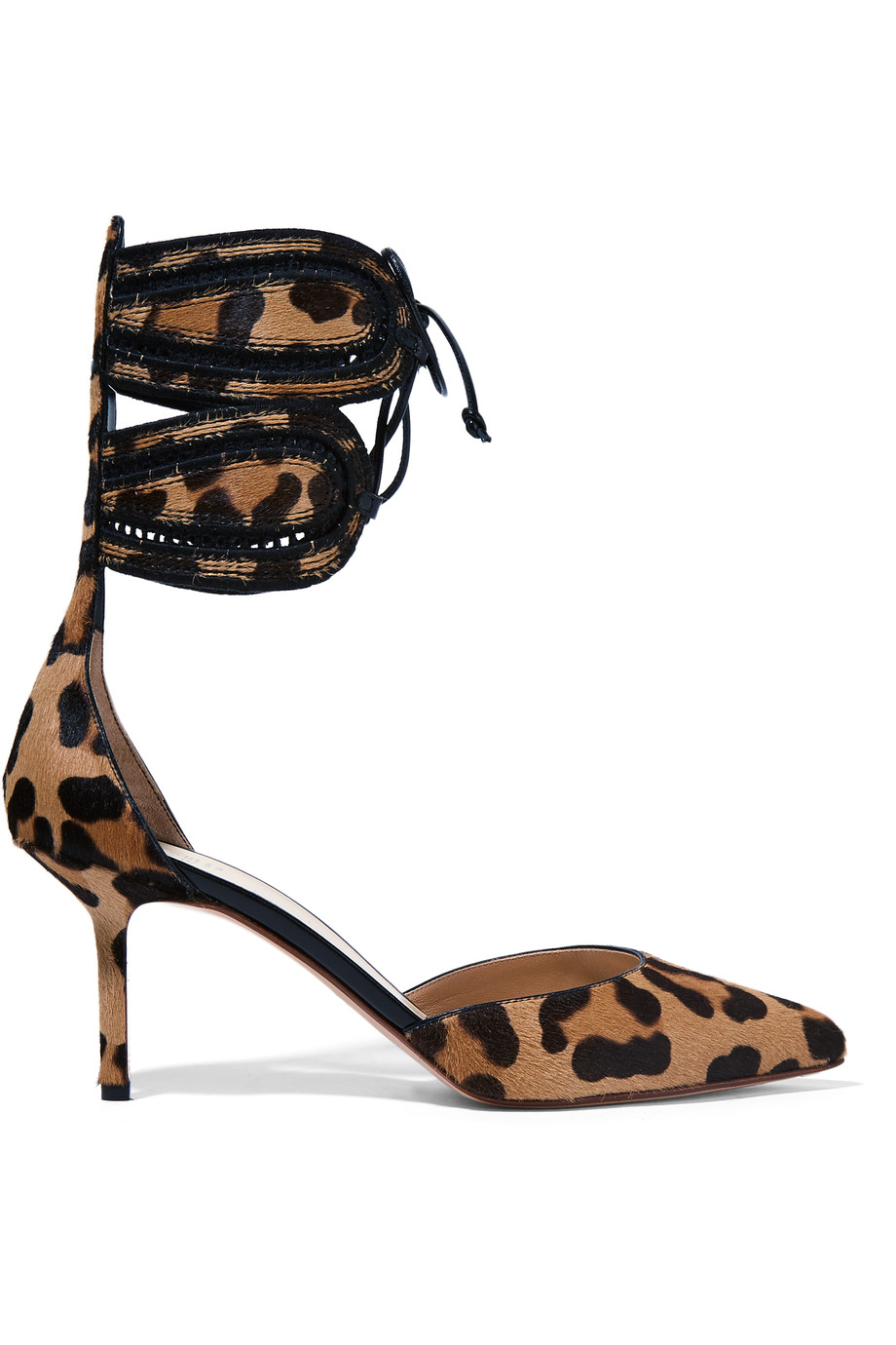Francesco Russo Leathers Leather-trimmed leopard-print calf hair pumps