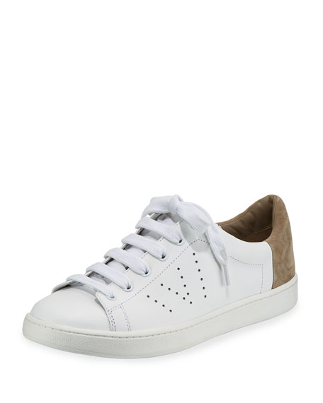 Vince Leathers VARIN LOW-TOP LEATHER SNEAKER, WHITE/WOODSMOKE