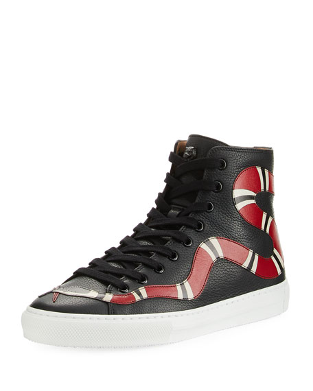Snake Embroidered Leather Hi-Top Sneakers