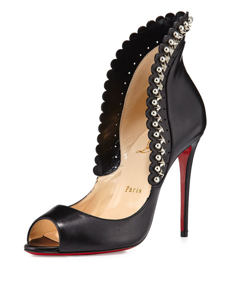 Christian Louboutin Leathers ROUCOULOUCOU STUDDED RED SOLE PUMP, BLACK, BLACK/SILVER