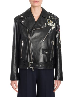 Tattoo Embroidered Leather Biker Jacket