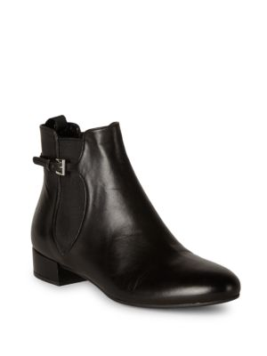 BUCKLE-STRAP LEATHER CHELSEA BOOTS
