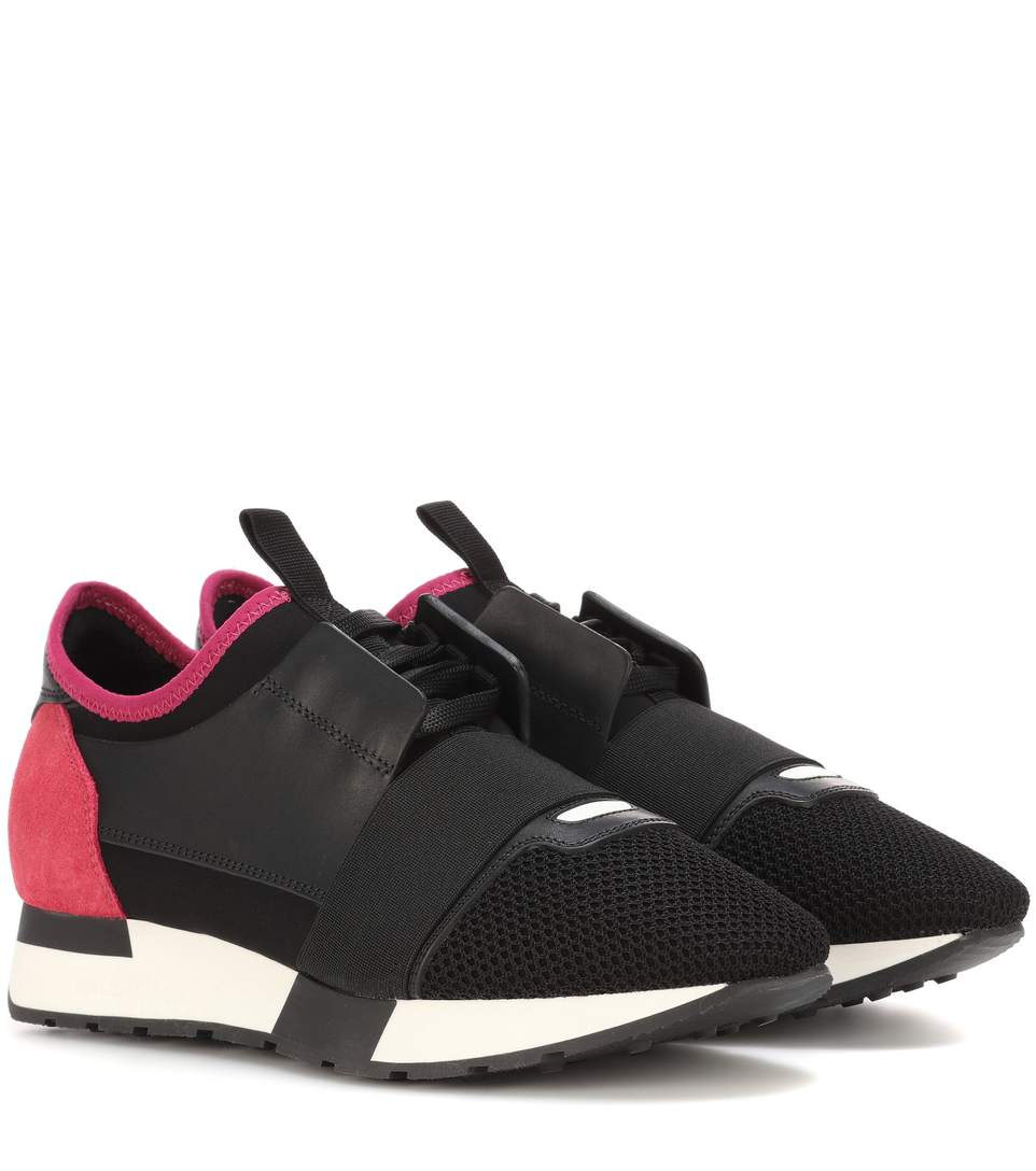 Race Runner Sneakers with Leather, Mesh and Suede