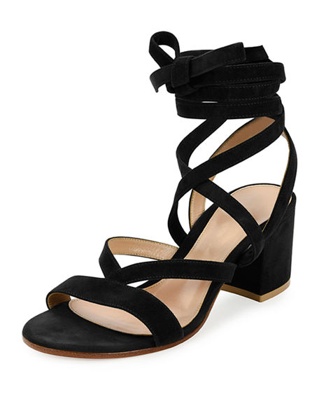 Gianvito Rossi Suedes STRAPPY SUEDE ANKLE-WRAP SANDAL, BLACK